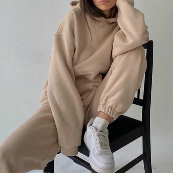 Tracksuits Women's Hoodie Pants Set Oversized Long Sleeve Sportwear Tracksuit Set 2021 Autumn Winter Suits On Fleece For Women image