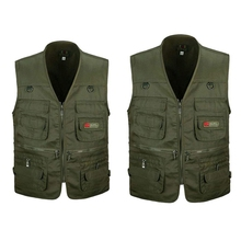 2Pcs Men's Fishing Vest with Multi-Pocket Zip for Photography / Hunting / Travel Outdoor Sport - Gre