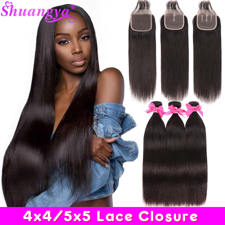 Peruvian Straight Hair Bundles With Closure Human Hair 5x5/4x4 Closure With Bundles 3 Bundles With Closure Remy Hair Extension