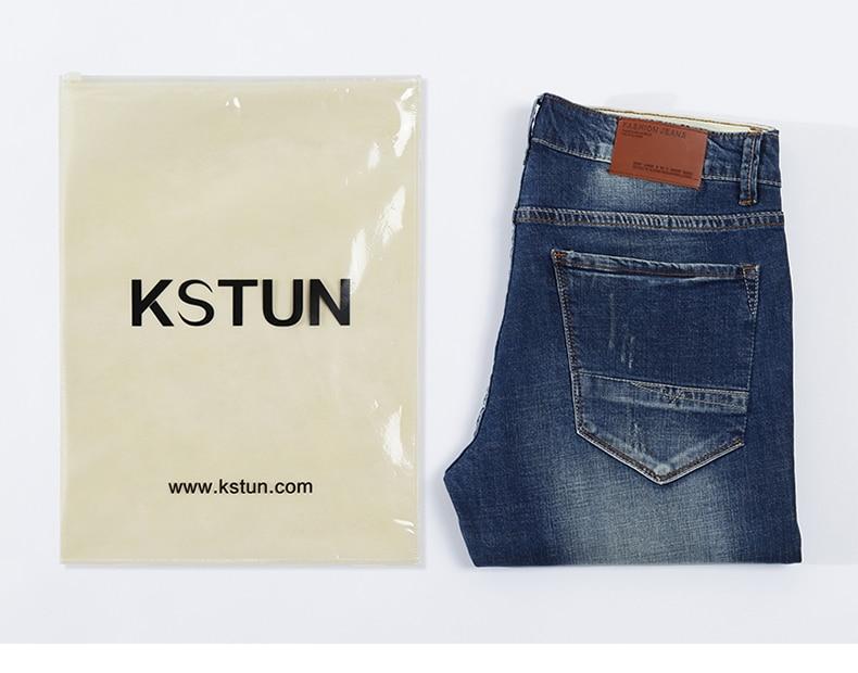 KSTUN Men's Jeans Classic Direct Stretch Dark Blue Business Casual Denim Pants Slim Straight Long Trousers Gentleman Cowboys 38 20