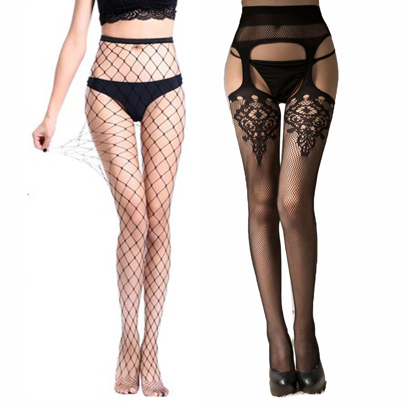Women Sexy Lingerie Stockings Garter Belt Fishnet Tights Hollow Out Transparent Black Pantyhose Embroidery Stockings Summer