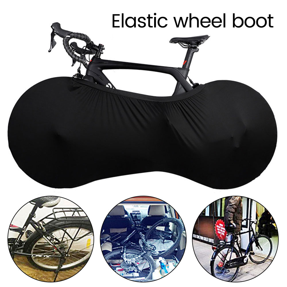 Bike Bicycle Wheel Cover Black Elastic Dust Scratch-proof Cover Storage Bag Indoor Mountain Road Cycle Wheel Protective
