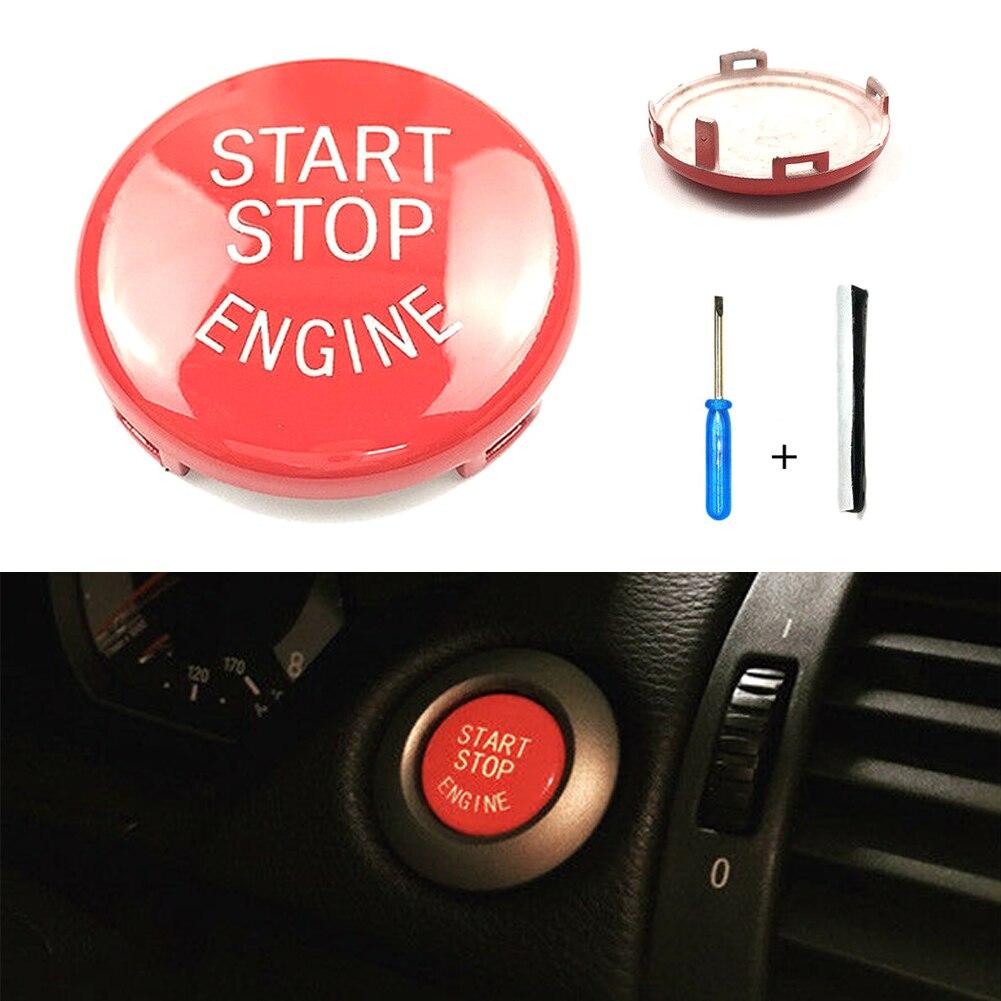 Vermelho start stop interruptor de botão do motor capa para bmw e90 e60 e84 e83 e70 e71 e72