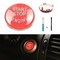 Vermelho start stop interruptor de botão do motor capa para bmw e90 e60 e84 e83 e70 e71 e72|Sistema de arranque sem chave| |  -