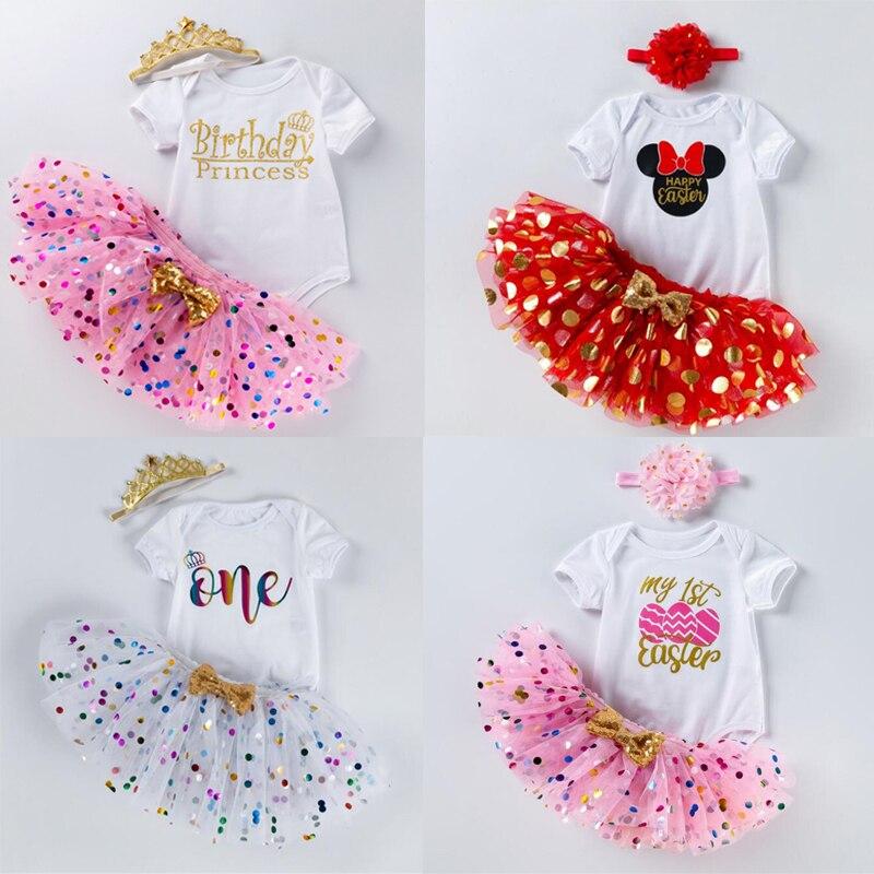 Vestido do bebê da páscoa para a menina vestido de batismo 1st festa de aniversário vestir roupas da criança meninas verão fantasia mini trajes conjuntos 12m