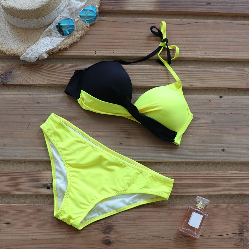 Riseado Sexy Push Up Bikinis Set Swimwear Women Swimsuits Bathing Suit Women Halter biquini Leaf Print Beach Wear Bikini 2020
