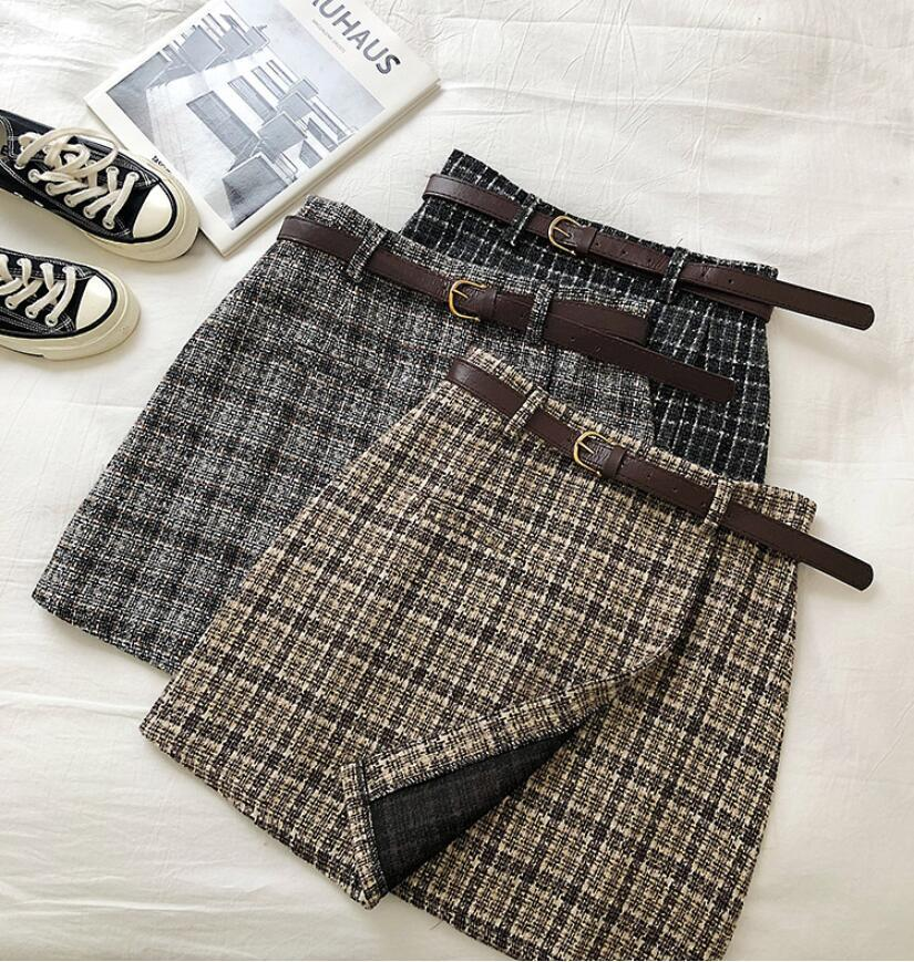 2020 Summer Korean Version Of The Sweet High Waist A-line Mini Skirt Retro Casual Female With Belt Irregular Check Lady Skirt