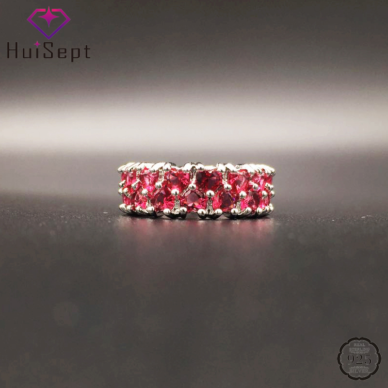 HuiSept Fashion 925 Silver Jewellery Women Ring Heart-shape Ruby Gemstones Ornaments for Wedding Party Wholesale Rings Size 6-10