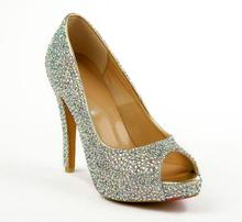 цена на Platforms Shoes Peep-toe High Heel Platform Pumps Crystal Wedding Shoes Rhinestone Glass Glittering Studded 120mm Pumps 35-41