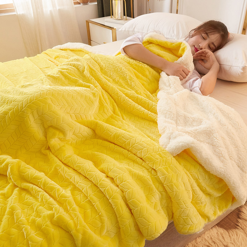 Yellow Fleece Blankets And Throws Adult Thick Warm Spring Winter Cover Home Super Soft Sheet King Blankets On Bed Christmas Gift