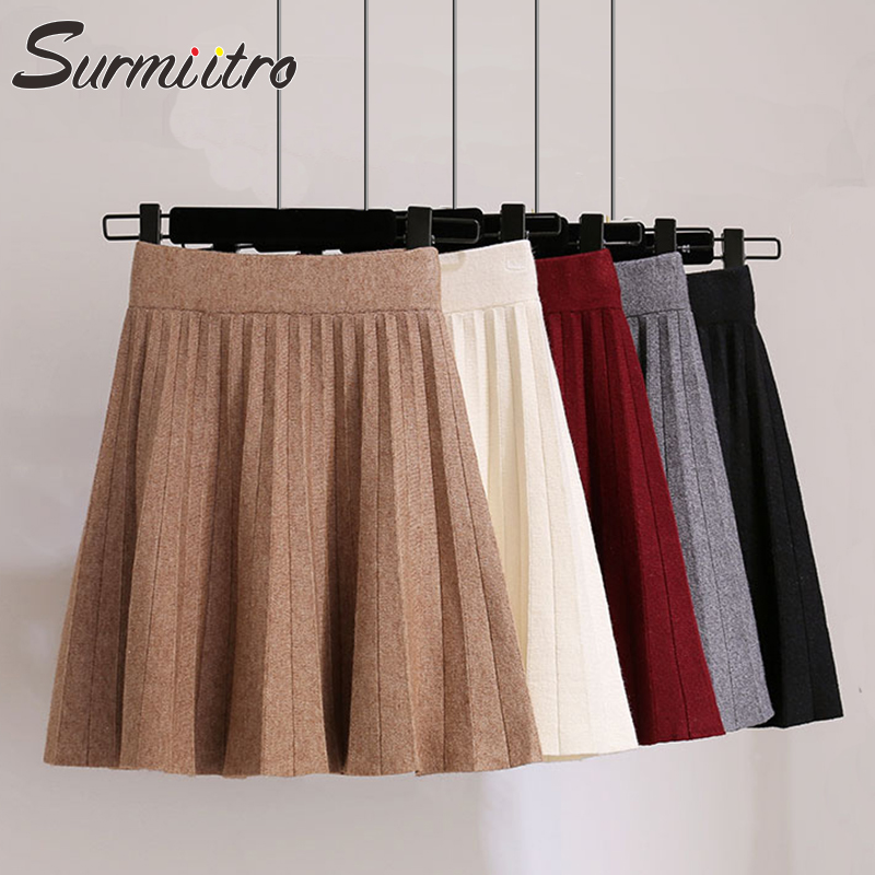 Surmiitro Knitted Pleated Mini Skirts Women 2019 Autumn Winter Casual Ladies Elastic High Waist Korean A Line Skirt Female