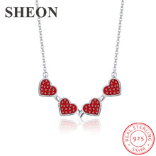 SHEON Multiple Wearing Methods 925 Silver Heart to Heart Clover Pendant Necklaces With Black & Red CZ Women Silver Jewelry цена и фото