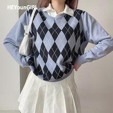 HEYounGIRL-suéter de punto para mujer, jersey de manga larga informal, suelto, estilo Preppy, tejido, para otoño e invierno, Y2K Argyle