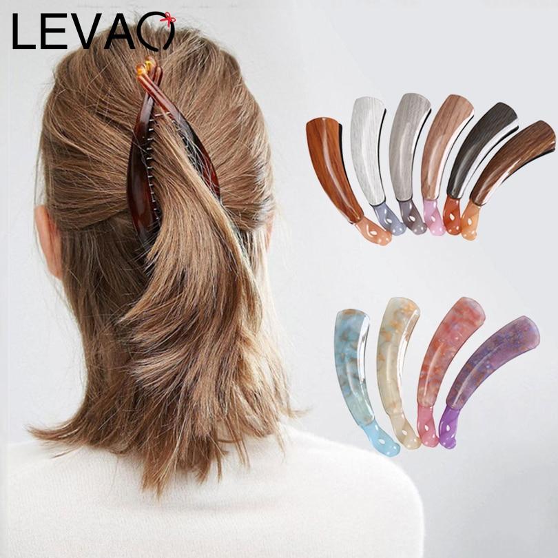 Базовая Заколка-банан LEVAO для девочек, акриловые заколки для волос с тонкой вспышкой, элегантные женские аксессуары для волос, новые заколки