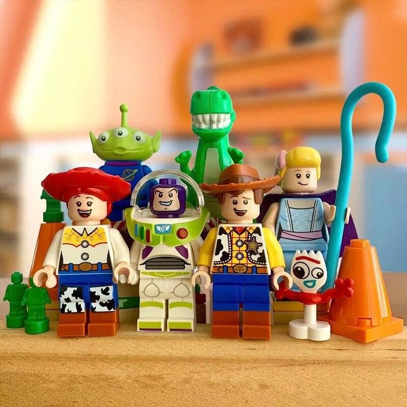Disney Single Toy Story 4 Forky Action Buzz Lightyear Woody Aliens Jessie Mouse Mario Stitch Building Blocks Friends Toys