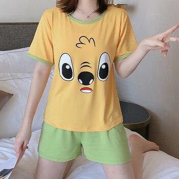 Hot sale Summer Shorts Pajama Sets for Women Short Sleeve Sleepwear Cute Girls Cartoon Pyjama Homewear Pijama Mujer Home Clothes 31