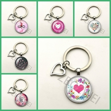 New Couple Keychain Love Gift Birthday Key Ring Glass Round Pendant Men and Women Supplies Jewelry Cute Key Chain Mother's Day wholesale real black blue grey pink python leather key chain customize keychain gift men women xmas family birthday couple gifts