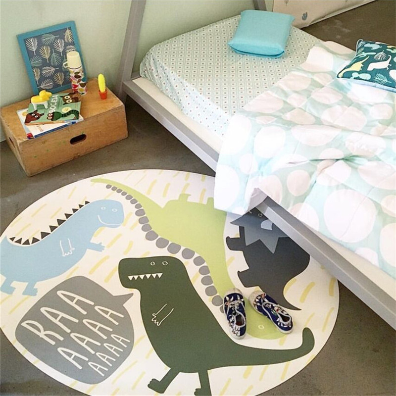 120cm Cartoon Dinosaur Play Mat Carpet For Boys Bedroom Rugs Kids Room Decoration Nordic Crawling Blanket Non-Slip Baby Game Mat