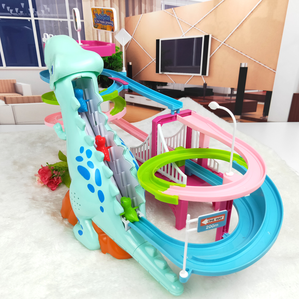 Brand New Electric Slide Railcar Track toy 3-6 years old Dinosaur climb stairs music light play interactive educational toys 4