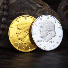 Areyourshop Gold Silver Plated Commemorative Coin USA Donald Trump 2020 Liberty Dropshipping