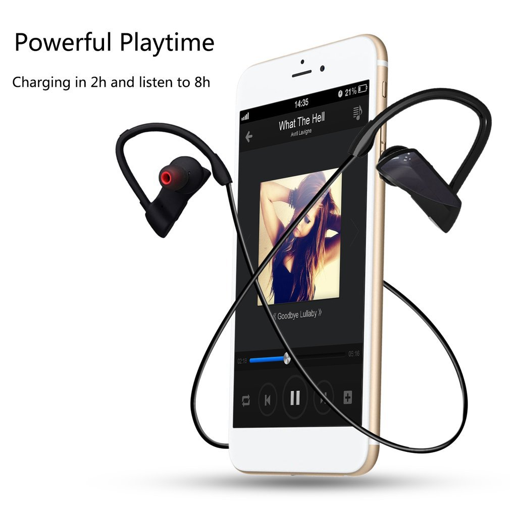 Bluetooth wireless earphone stereo ear-hook sports noise reduction earphones with microphone headset for xiaomi iPhone Samsung