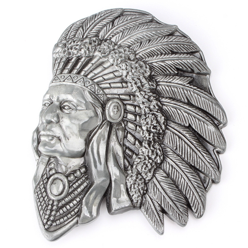 Belt DIY Accessories Indian Head Belt Buckle Western Cowboy Style Smooth Belt Buckle  Punk Rock Style