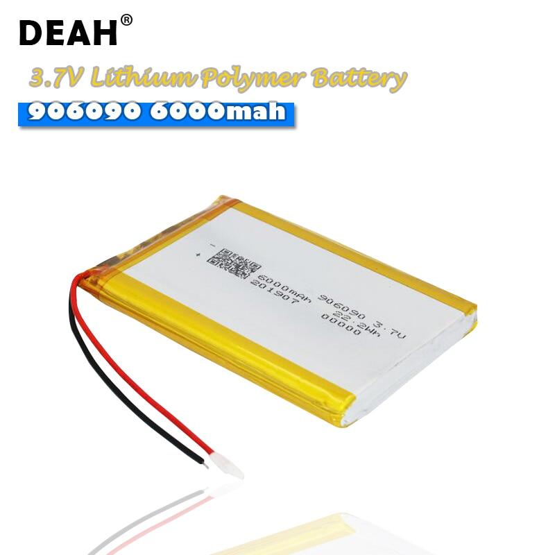 3.7V Lipo cellules 906090 6000mah Lithium polymère batterie Rechargeable haute capacité pour tablette dalimentation Mobile Ebook caméra DVD GPS