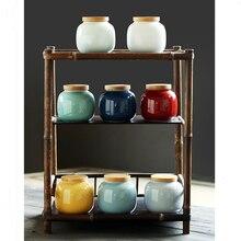 цена на Ceramic storage tank Kitchen Seasoning Tank Natural bamboo Wooden Cover Salt Shaker Spice Jar Kitchen Accessories Tea cans