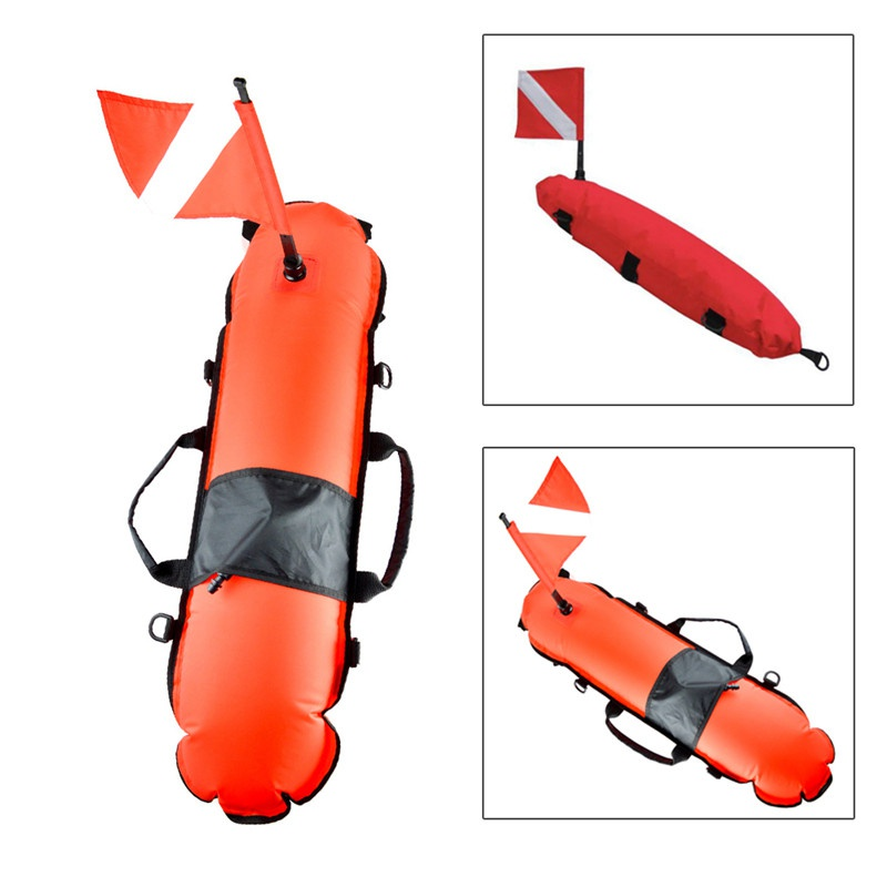 Inflatable Scuba Diving Spearfishing Signal Float Buoy + Dive Flag Banner Swimming Diving Snorkeling Accessories 2ym