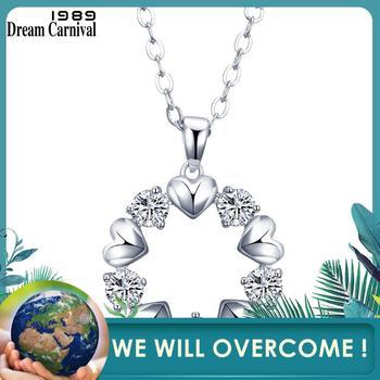 DreamCarnival 1989 Hearts Shape Cubic Zirconia Pendant Necklace for Women Rhodium Color Collana Drop Shipping Wholesales WP6402