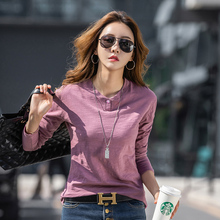 4-Color Autumn  O-neck T-shirt Womens Harajuku Fashion Multicolor Long-sleeved Sexy Street 100% Cotton Simple Stretch