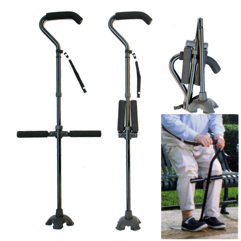 Multi-functional Aluminium Alloy Collapsible Crutches Large Curved Handle Old Man Power Legs Wand Elderly Walking Stick