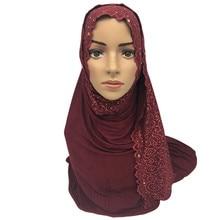 Muslim Jersey Hijab Scarf Soft lace Headscarf foulard femme musulman arab diamonds hijab cotton head scarves ladies plain shawls