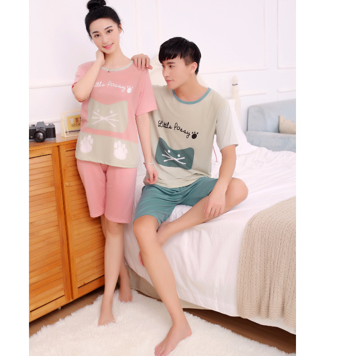 Germinal Net Grant Short Sleeve Couple Clothes Spring Summer Short-sleeved Pocket Cat Qmilch