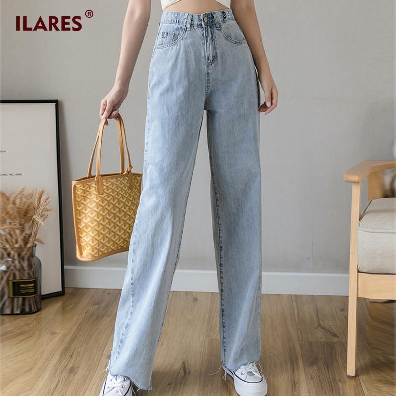 ILARES Jeans High Waist Clothes Wide Leg Denim Clothing Streetwear Vintage Embroidery 2020 Fashion Harajuku Straight Pants Woman