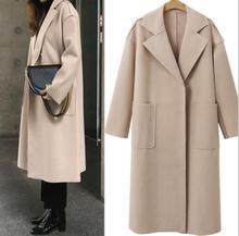 Woman Coats Winter Wool Long Coat 2019 Vintage Fashion Korean Camel Autumn Ladies Elegant Casual Women Outwear