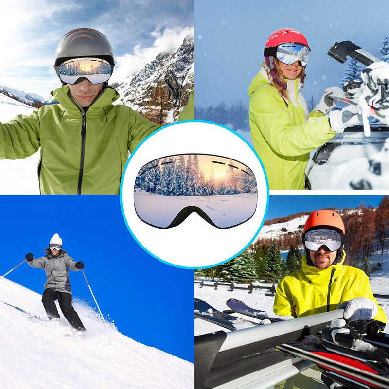 Лыжные очки, двухслойная УФ противотуманная большая Лыжная маска, очки для катания на лыжах, сноуборде, очки для мужчин и женщин, лыжные очки