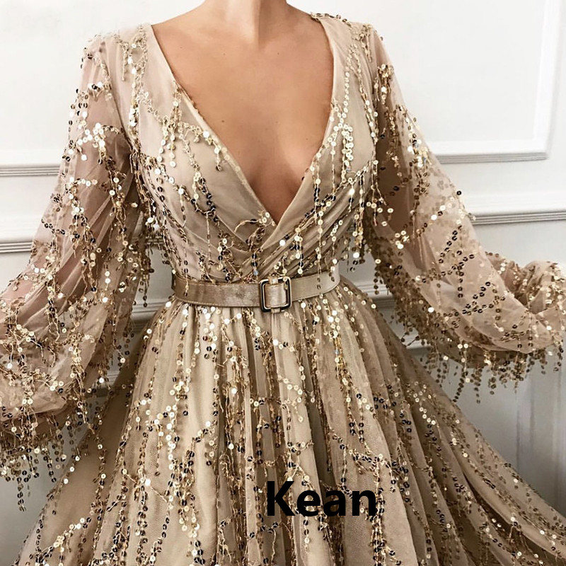 Gold Sequins Lace Evening Dresses Puff Sleeve Split Special Occasion Islamic Dubai Kaftan Saudi Arabic Evening Gown Prom Dress