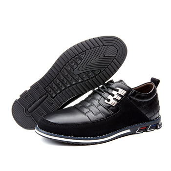 Men's casual leather shoes Lace-up non-slip outsole Comfortable shoes Leather is lightweight, wear-resistant and waterproof shoe keerygo women s shoes inside and outside the full leather lace leather shoes comfortable feet big shoes