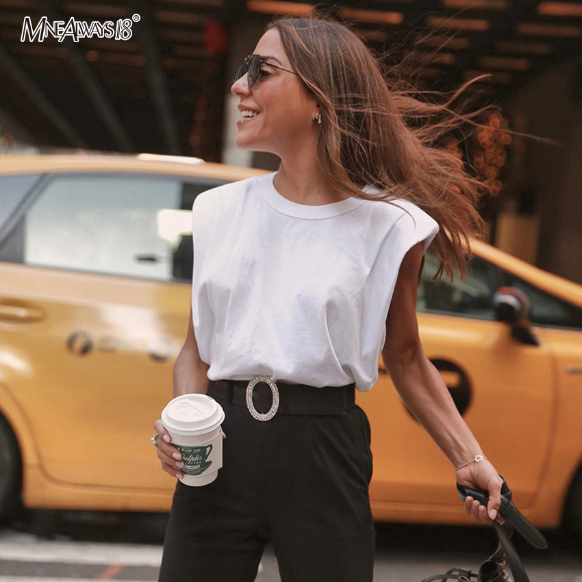 Mnealways18 Sleeveless White Tops Solid Casual Top Summer O Neck Women Blouse Fashion Loose Black Shirt Chic Ladies 2020 New