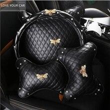Little Bee Series Car Interior Headrest Lumbar Pillow Metal Little Bee Car Neck Pillow Cushion Car Interior