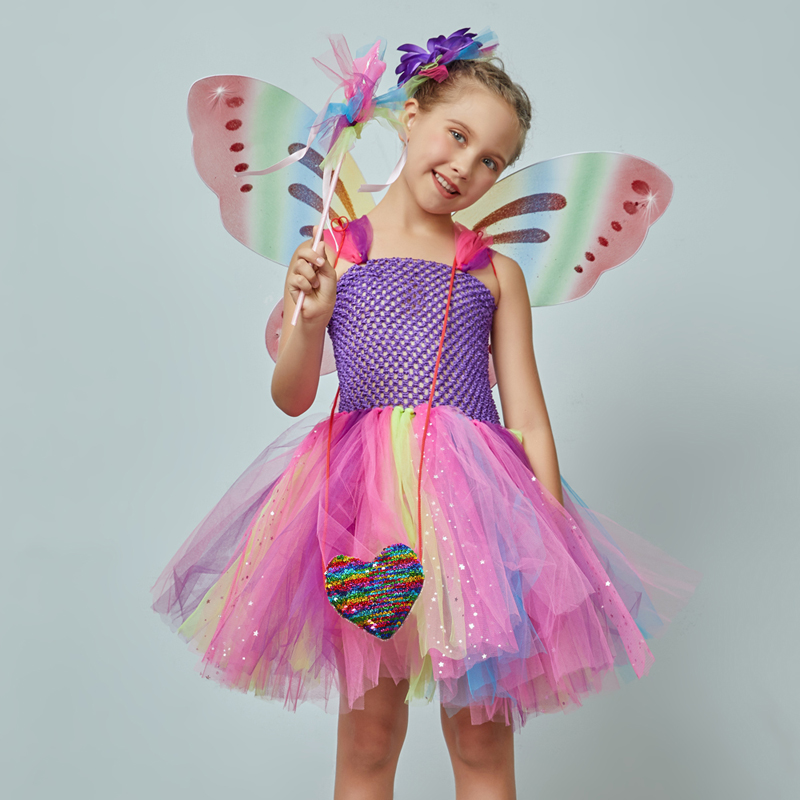 Girls Butterfly Fairy Fancy Tutu Dress Wings Costume Kids Princess Birthday Party Dress Halloween Cosplay Kids Spring Tulle Dress (5)