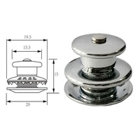 10 Pcs / 5 Sets Boat Canvas Snaps Fastener Upper Part / Lower Part Chrome Plated Brass for Boat RV Canvas Canopies Yacht