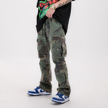 Baggy Trousers Cargo-Pants Distressed Pockets Drawstring Loose Women Splash Hip-Hop And