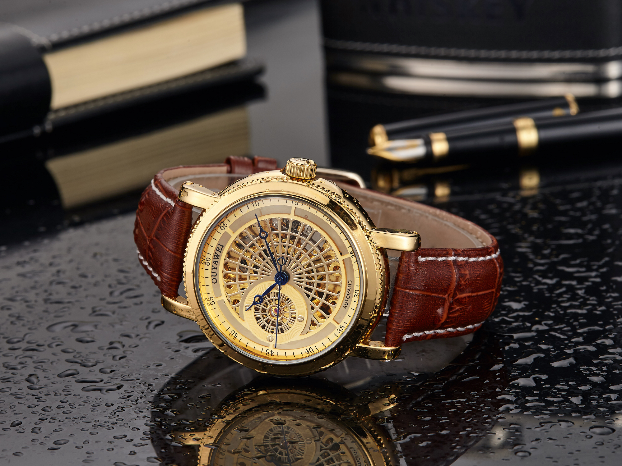 Hd423ebd16a0c420f98d100a93bc3b696O Mechanical Gold Watch Luxury Brand Self-winding
