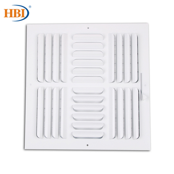 """4-Way W12"""" x H12"""" Curved-Blade Ventilation Grille Air Outlet Valve Air Supply Register Air Vent Cover Steel Ceiling/Sidewall"""