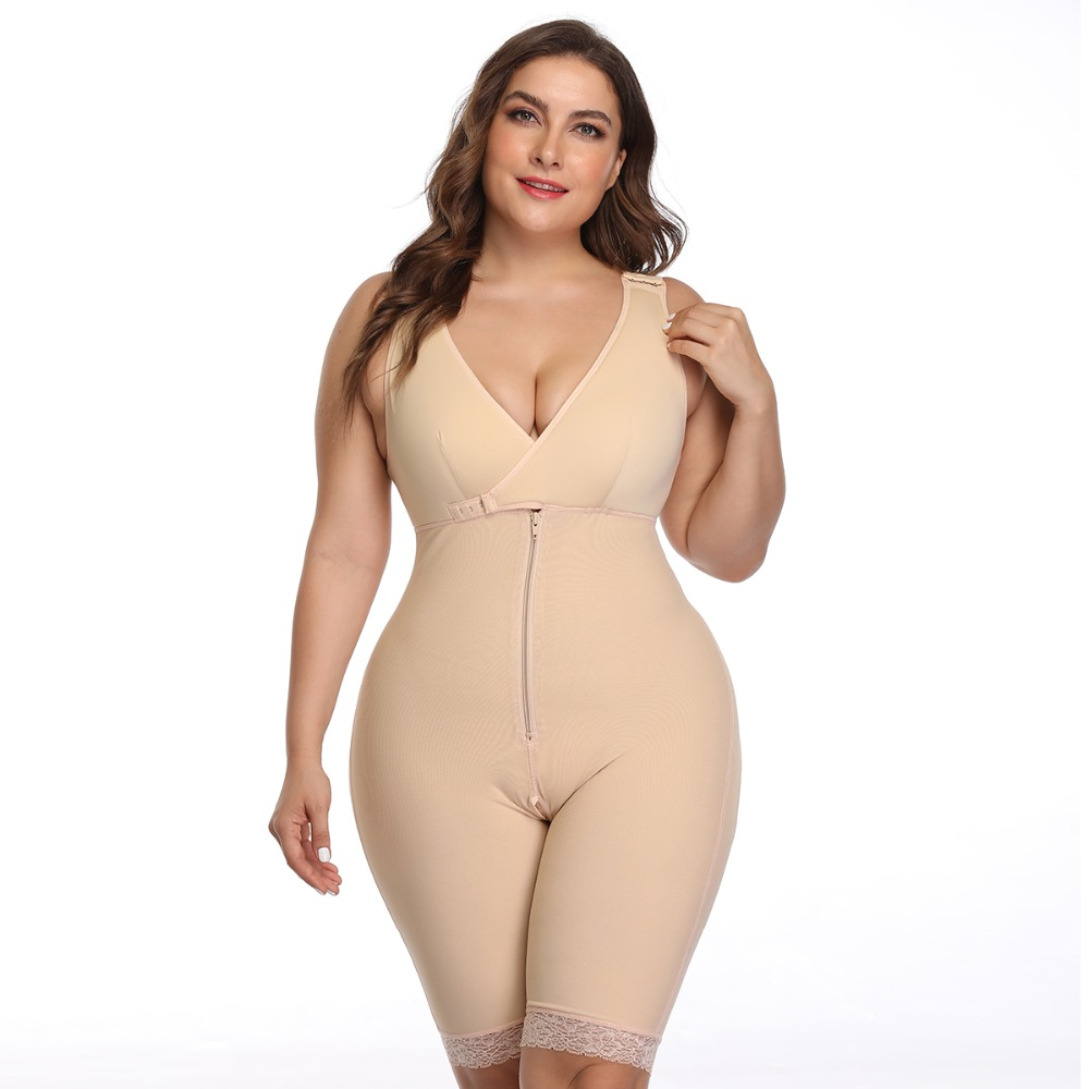 Women's Open Crotch Body Shaper Tummy Control Underwear Black Beige Plus Size 6XL Bodysuit Deep V Overbust Adjustable Shapewear (13)