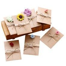 3 Pak/partij Vintage Kraftpapier Gedroogde Bloem Papieren Kaart Met Envelop Gift Bericht Uitnodiging Wedding Party Briefpapier