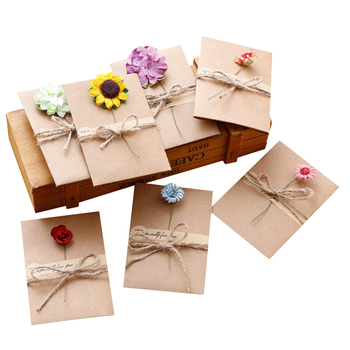 3pack/lot Vintage Kraft Paper Dried Flower Greeting Card With Envelope Gift Message Invitation Wedding Party Stationery - discount item  40% OFF Printing Products