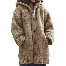 Вязаный кардиган с капюшоном пальто верхняя одежда Женская толстовка
